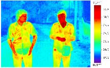 человек справа имеет более высокую температуру